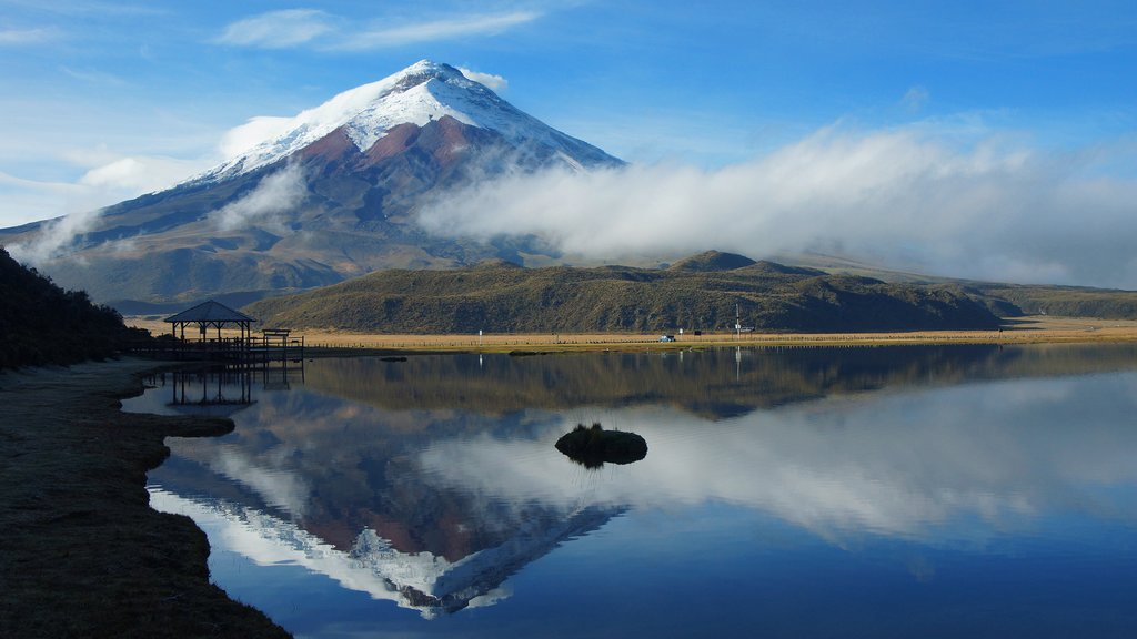 Limpiopungo lagoon reflecting the spectacular Cotopaxi behind