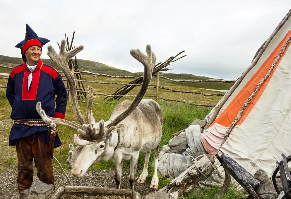 Reindeer herder,  Honningsvag, Norway