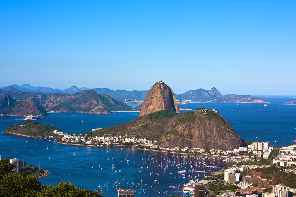 Sugarloaf mountain and a view of the blue water around Rio