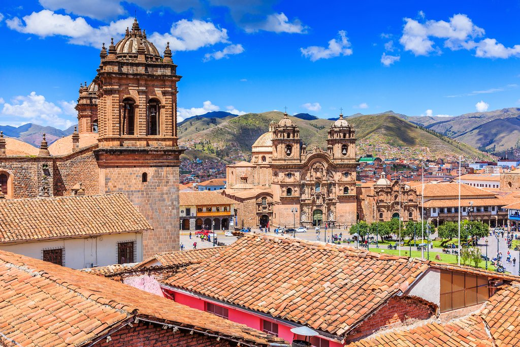 View of Plaza de Armas in Cusco, the historic capital of the Inca Empire.