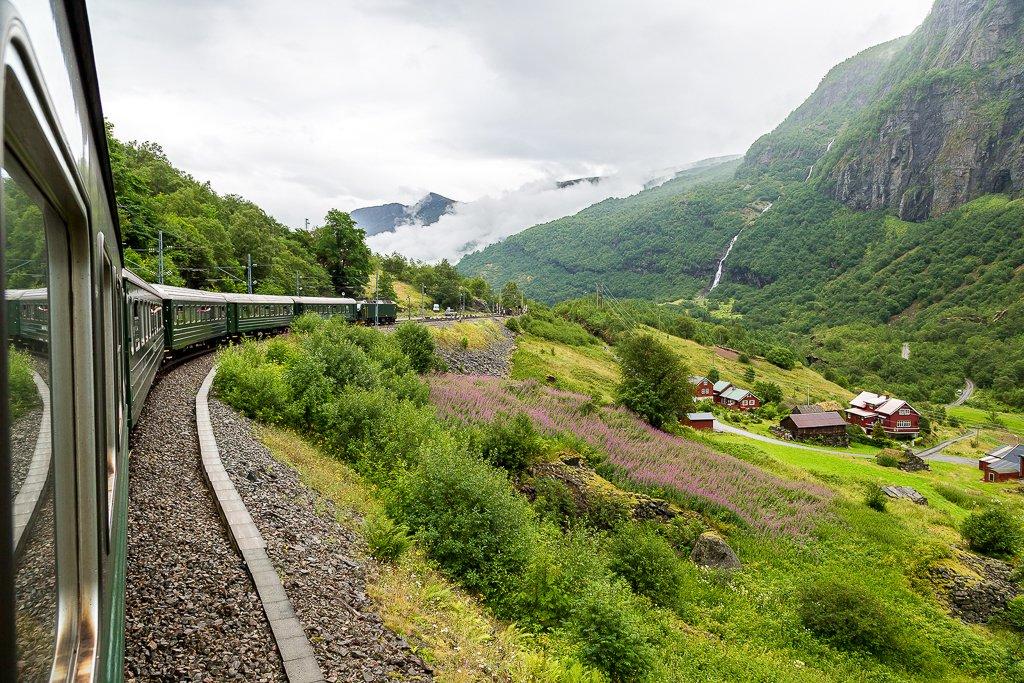 Flam railway (Flamsbana) line in Flam valley