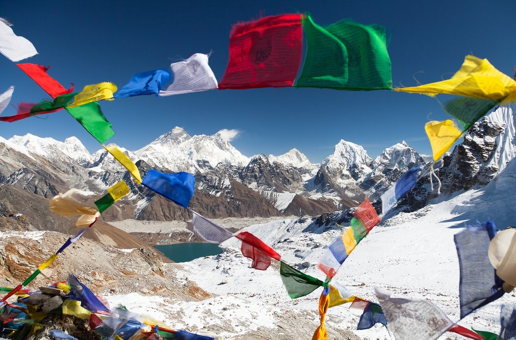 View of Mt. Everest from Renjo La pass
