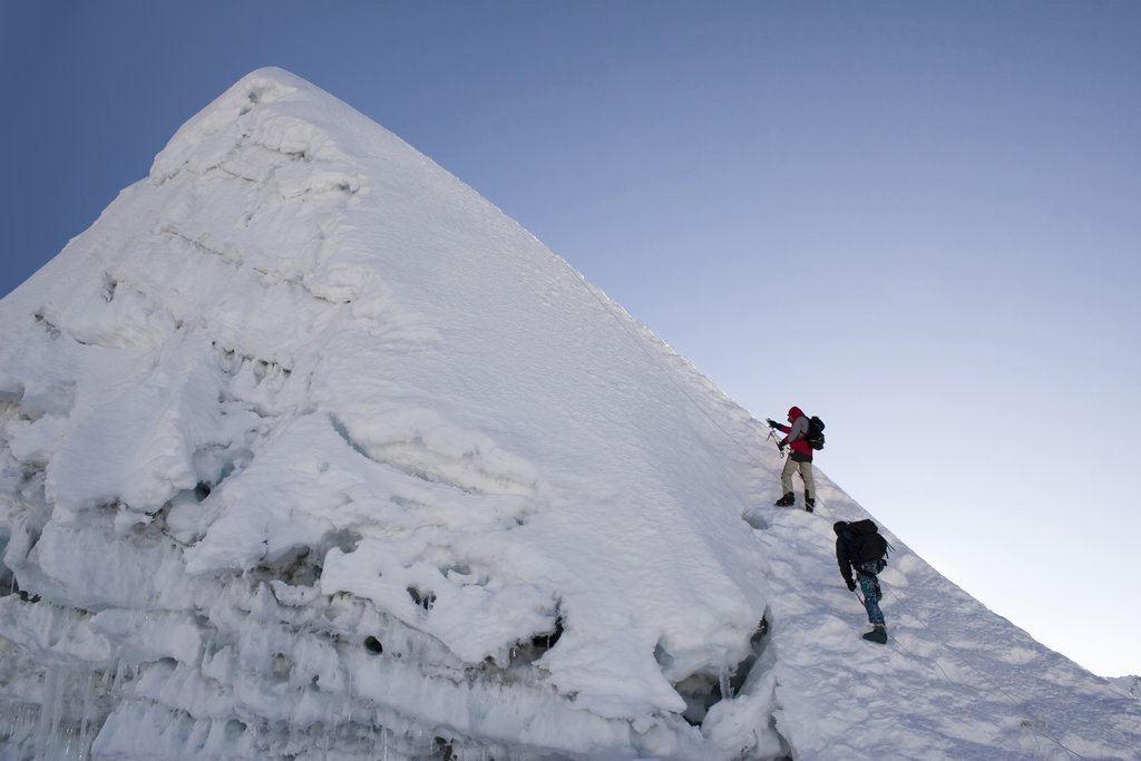 Nearing the summit of Island Peak