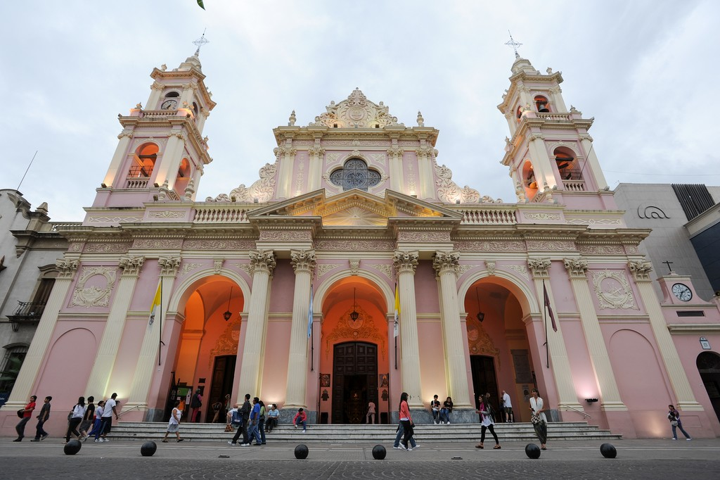 The ornate exterior of the Cathedral of Salta