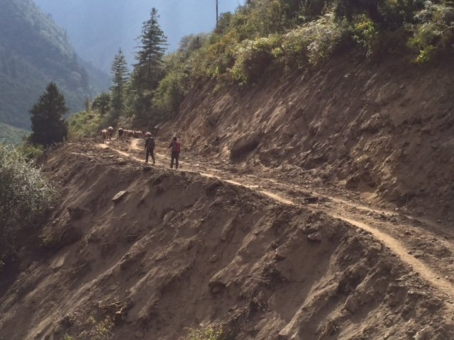 1km above Tillje, chipping away at the trail toward Bimthang
