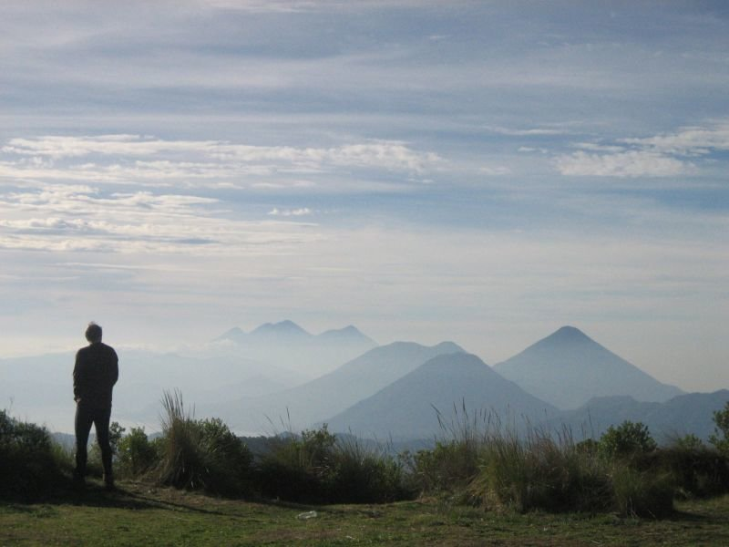 Viewfrom the Zunil campsite of string of volcanoes