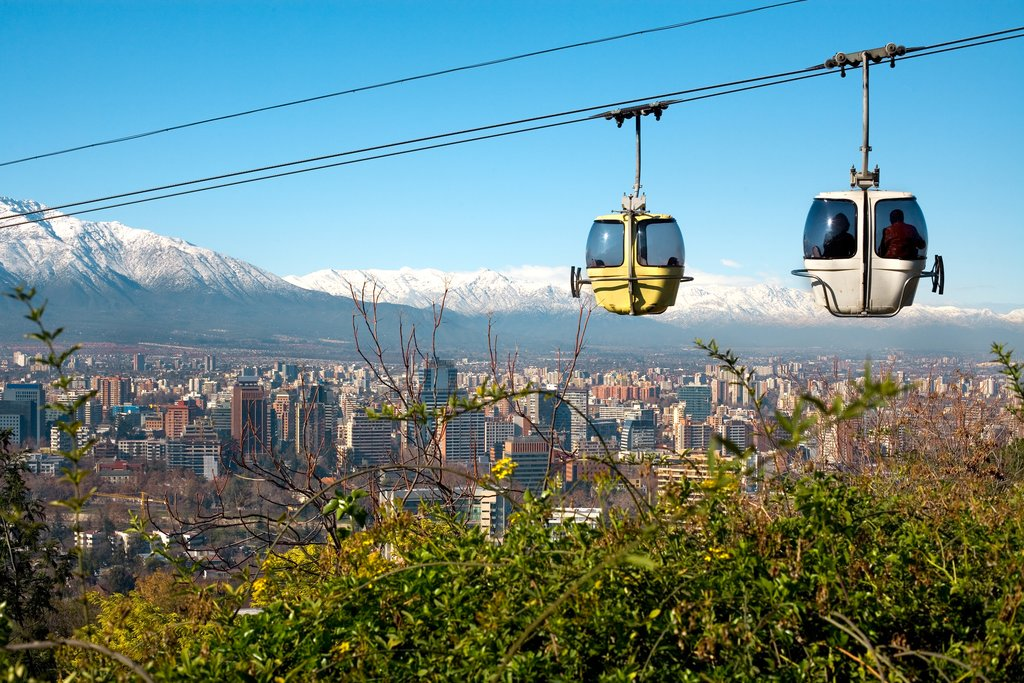 Cable car above Santiago