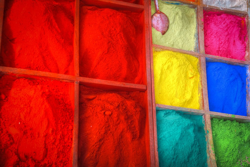 The colored pigment used to make tika in Kathmandu