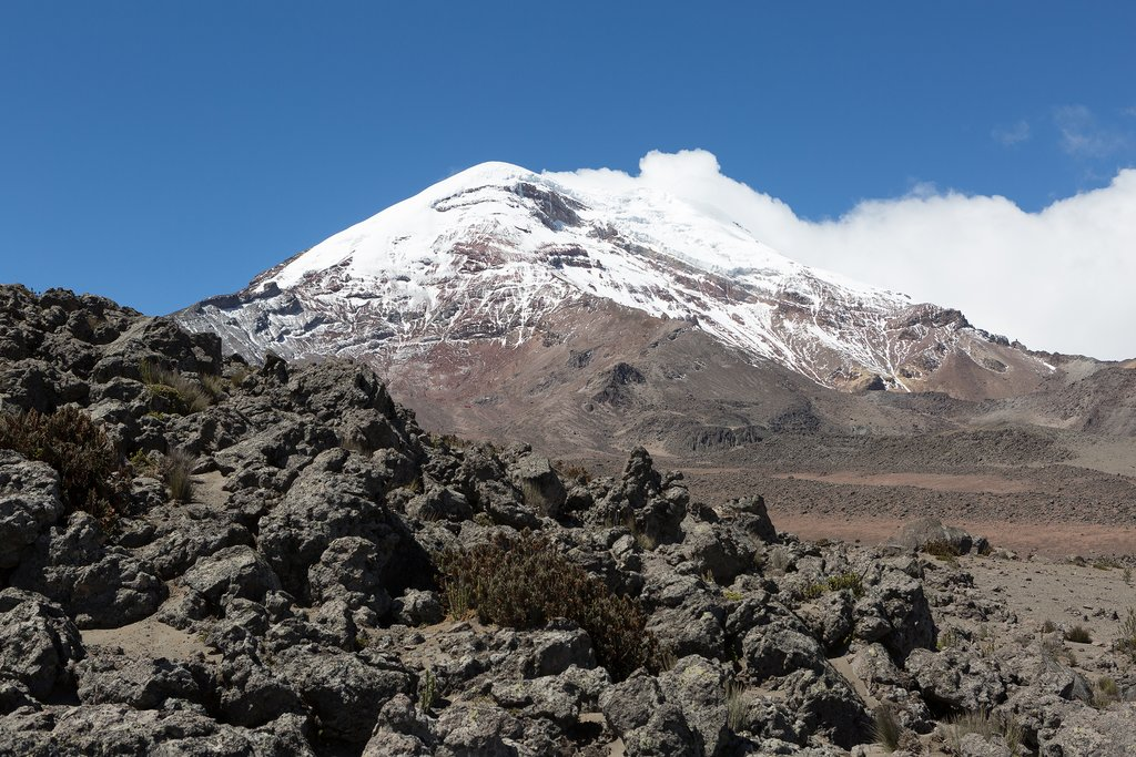 On clear days, the impressive Chimborazo Volcano towers for miles around