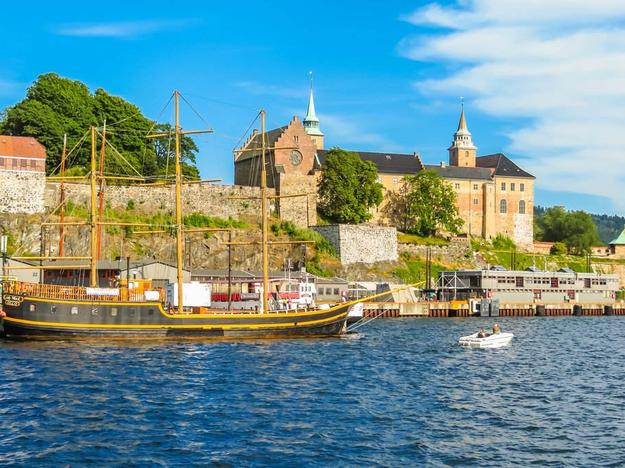 View of the Oslo Harbour and Akershus Fortress