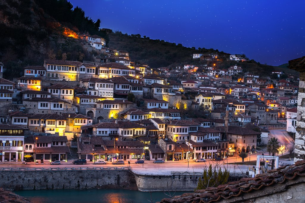 World Heritage Listed town of Berat in South Albania