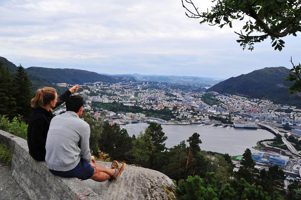 Get a better view of Bergen from neighboring hillsides.