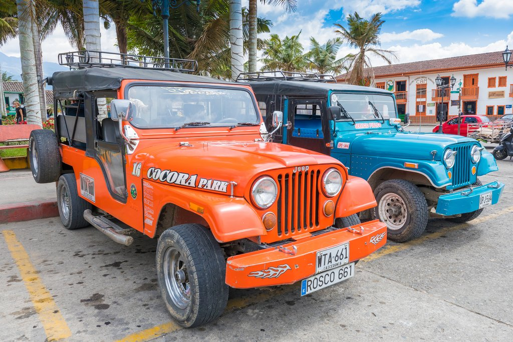 Willys Jeeps are a popular transport option in the Zona Cafetera