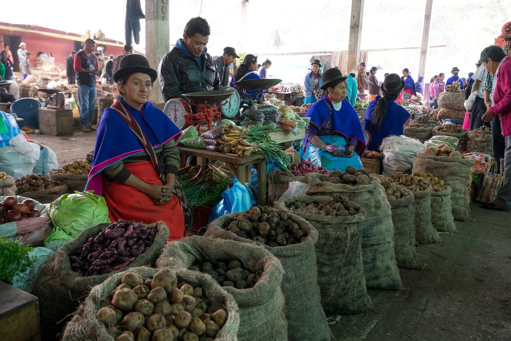 Indigenous women on market day in Silvia, Colombia