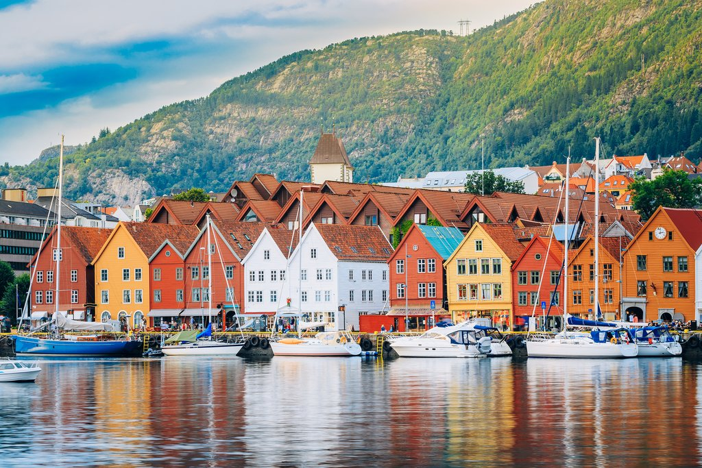 iew of historical buildings in Bryggen- Hanseatic wharf in Bergen, Norway. UNESCO World Heritage Site