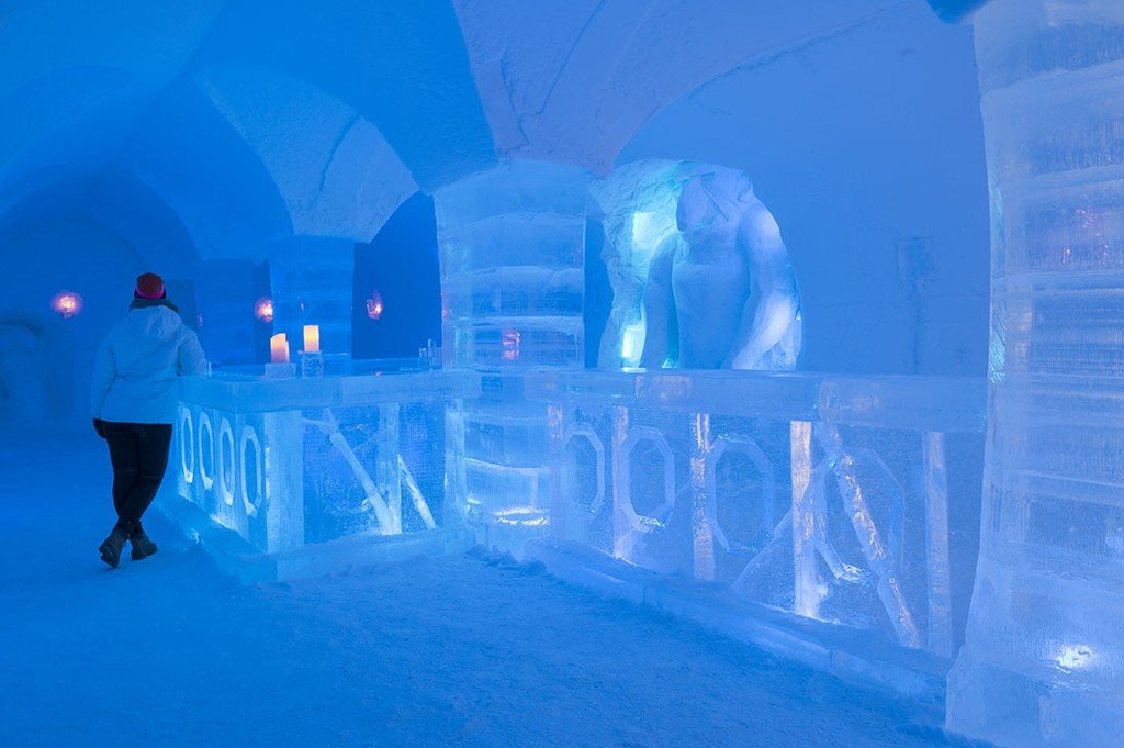 Icy interior of Sorrisniva Igloo Hotel