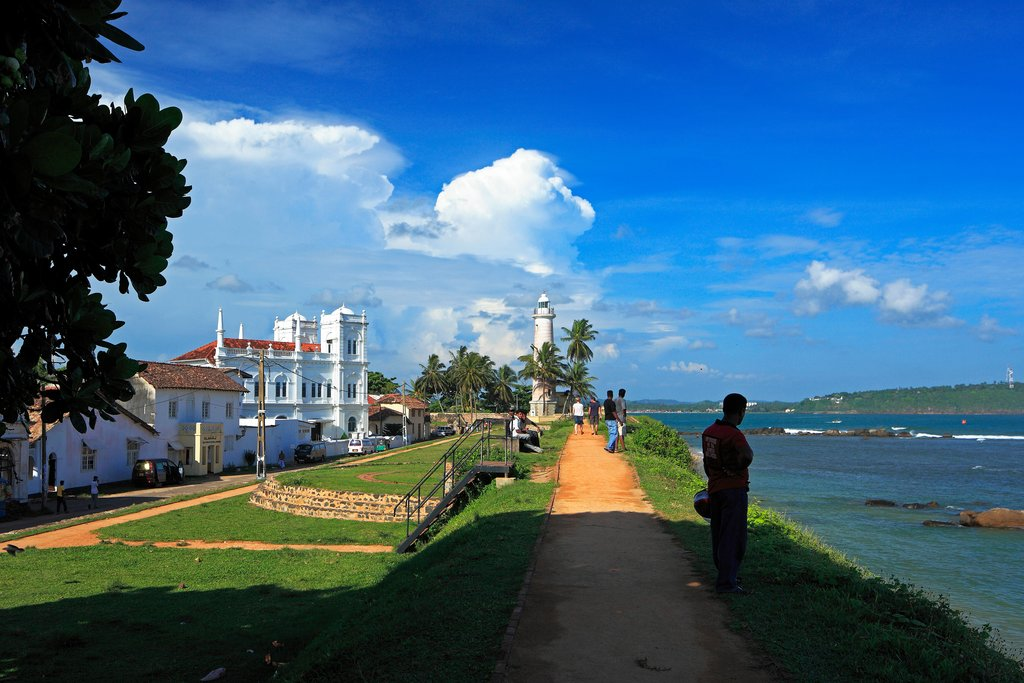 The coastal town of Galle in southwest Sri Lanka is known for its historic lighthouse and colonial-era fort.