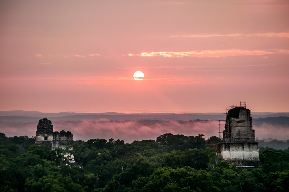 A beautiful sunrise over Tikal