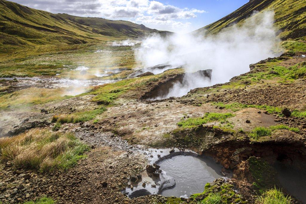 Geothermal pool, Reykjadalur valley, Southern Iceland