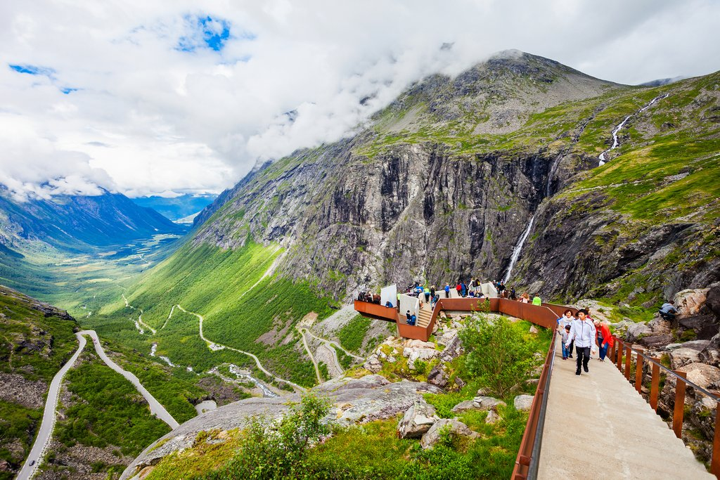 A viewing platform overlooking Trollstigen.