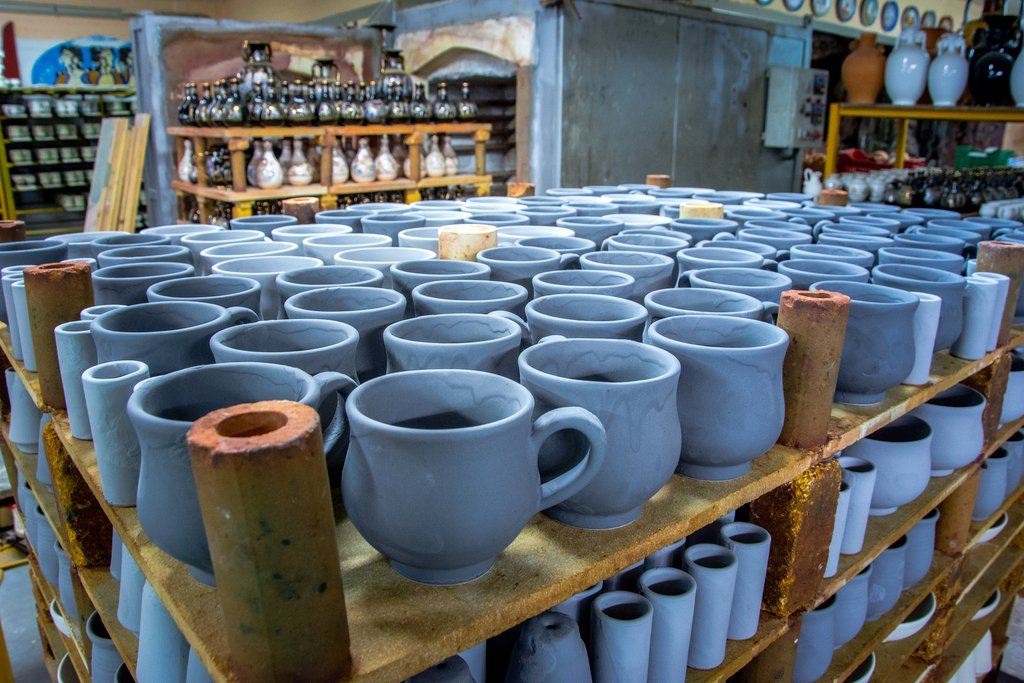 Handmade clay pottery on Crete