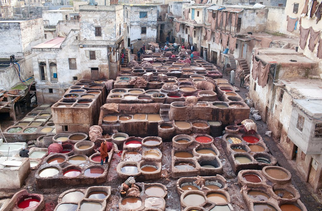 A tannery souk in Fez, Morocco