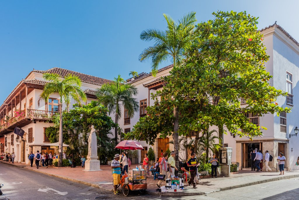 A leafy corner in Cartagena's Old Town.