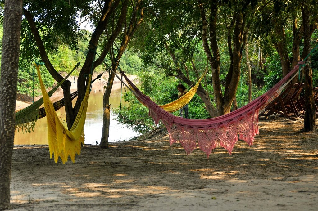 The collection of colorful hammocks beckon you to relax