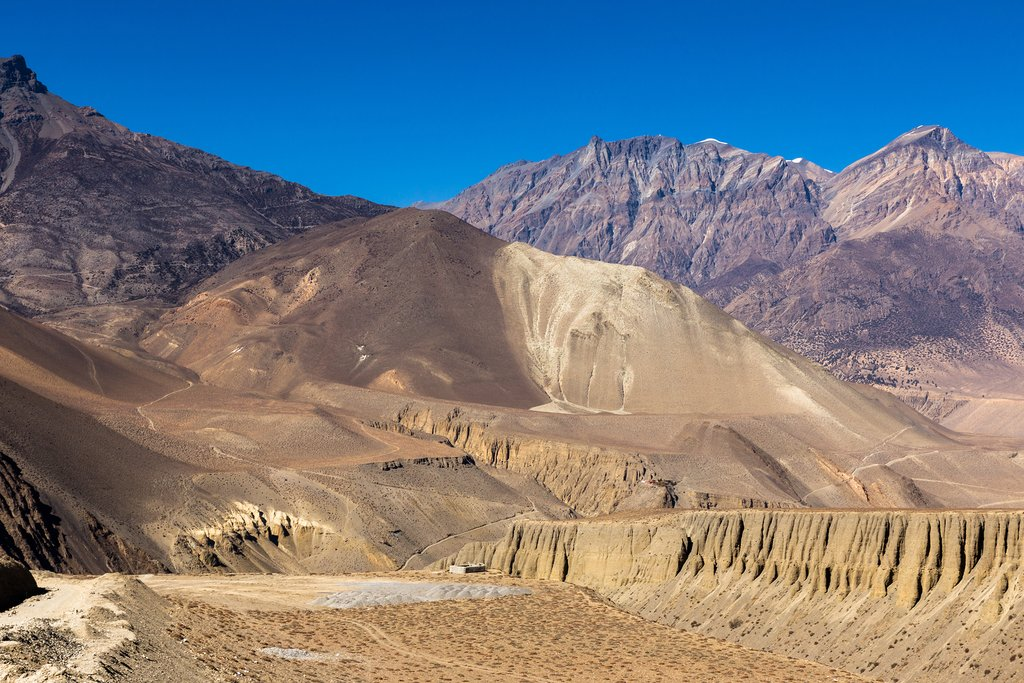 he incredible dry landscape in the rain shadow of the Himalayas