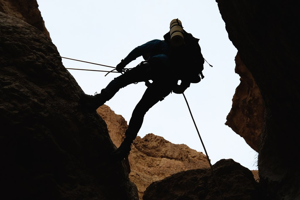 Cliffside abseiling