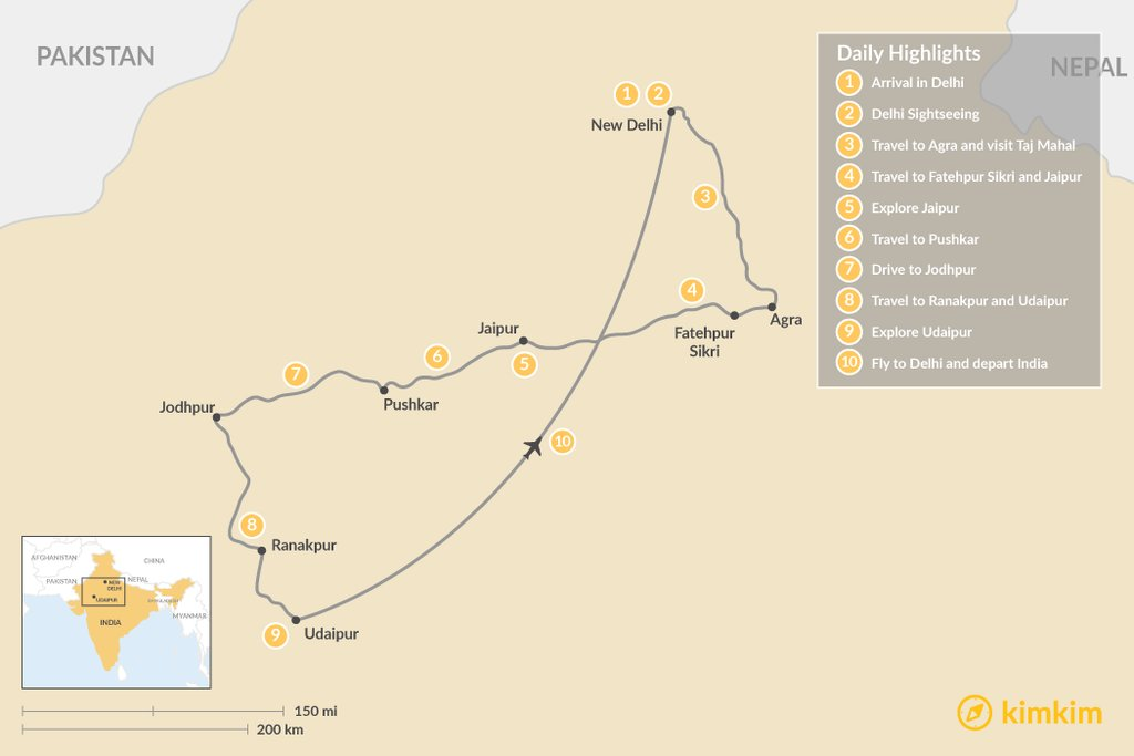 Best of Rajasthan Tour Overview map