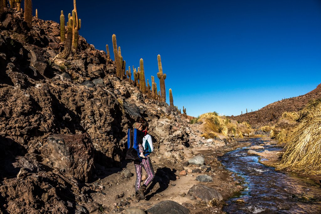 Hiking amid the rocky, cactus-lined scenery near Guatín