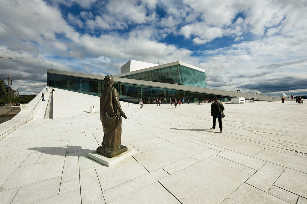 View to the modern National Oslo Opera House building in Oslo, Norway.