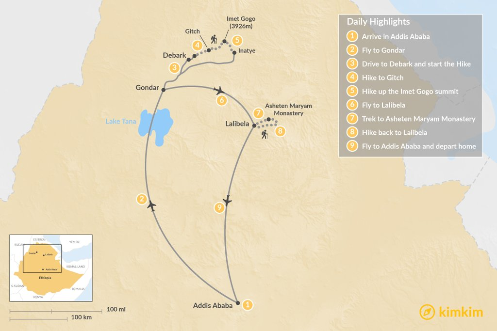 Map of Simien Mountain Trek