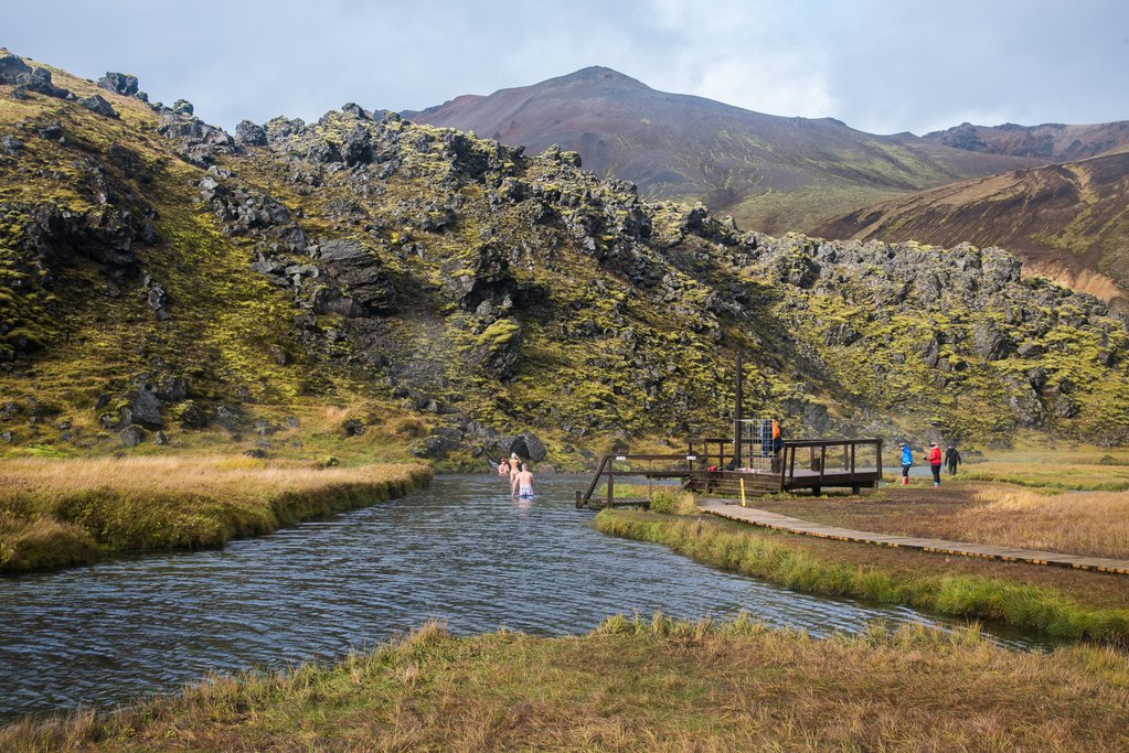 "The ""Countryman's Bathing Pool"" in Landmannalaugar, near the start of the Laugavegur Trail"