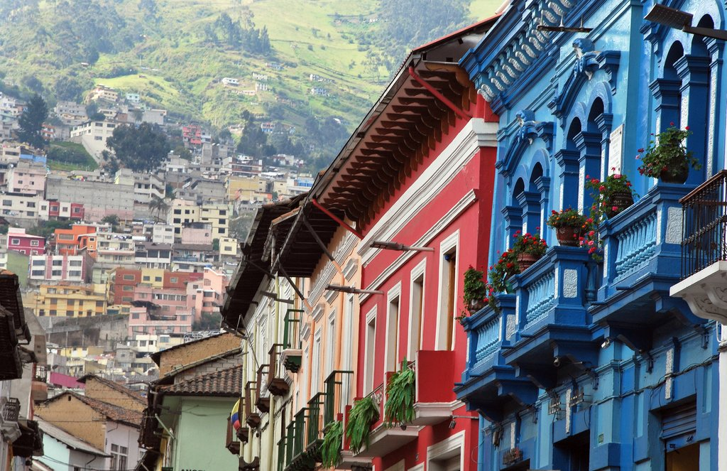 Colorful colonial-era buildings of Quito.