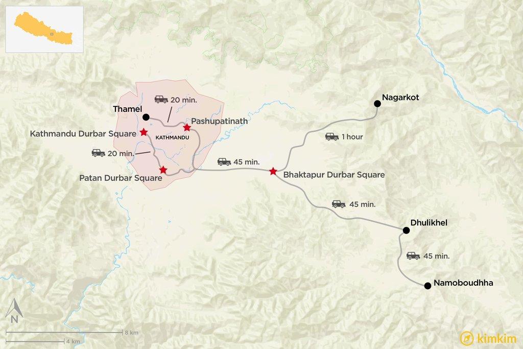 Map of Kathmandu Valley cultural highlights