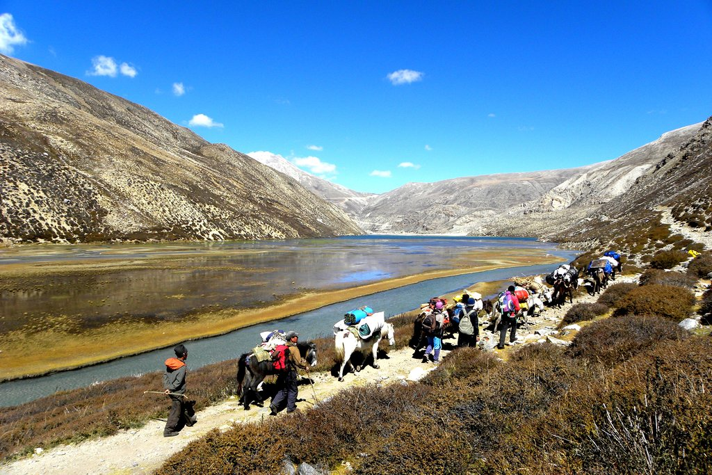 Talung valley and the lake with the horse and support crew on the trail