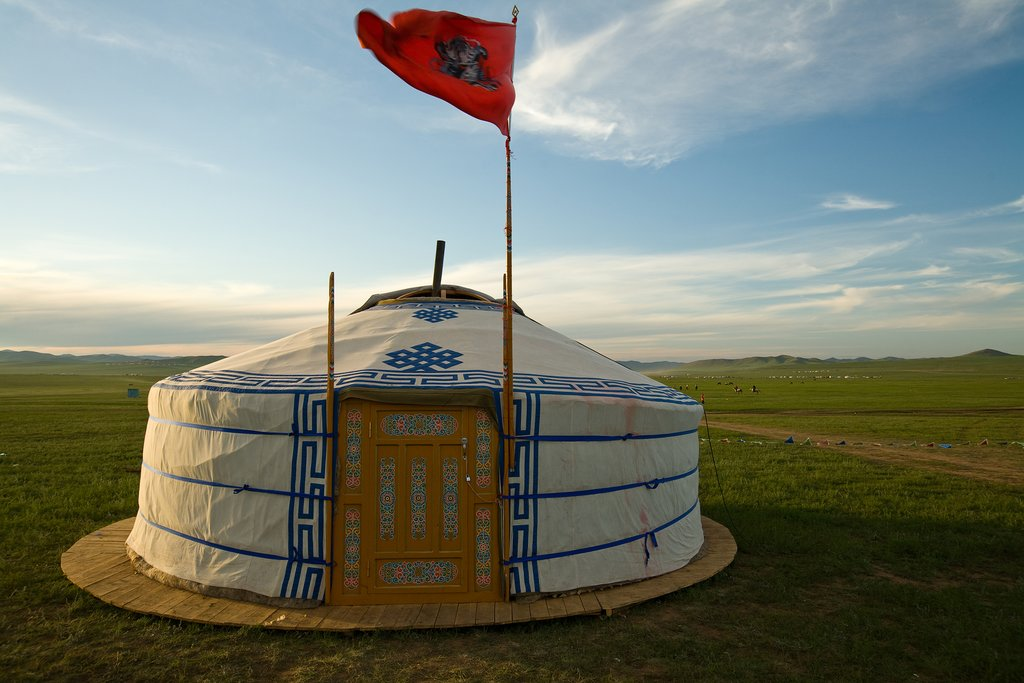 Traditional Mongolian ger against the Mongolian Steppes
