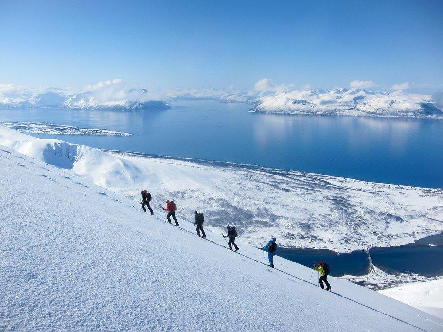 Lyngenfjord in winter with skiers