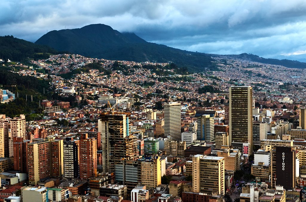 Bogotá's scenic capital is surrounded by mountains.