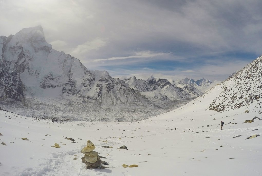 On high mountain passes in the Himalayas, stone piles mark the trail