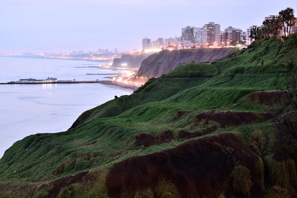 View of the coastline in Lima from Barranco, a district in the south of Lima.