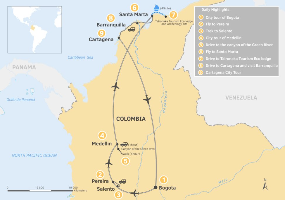 Map of 9 day Colombia Itinerary