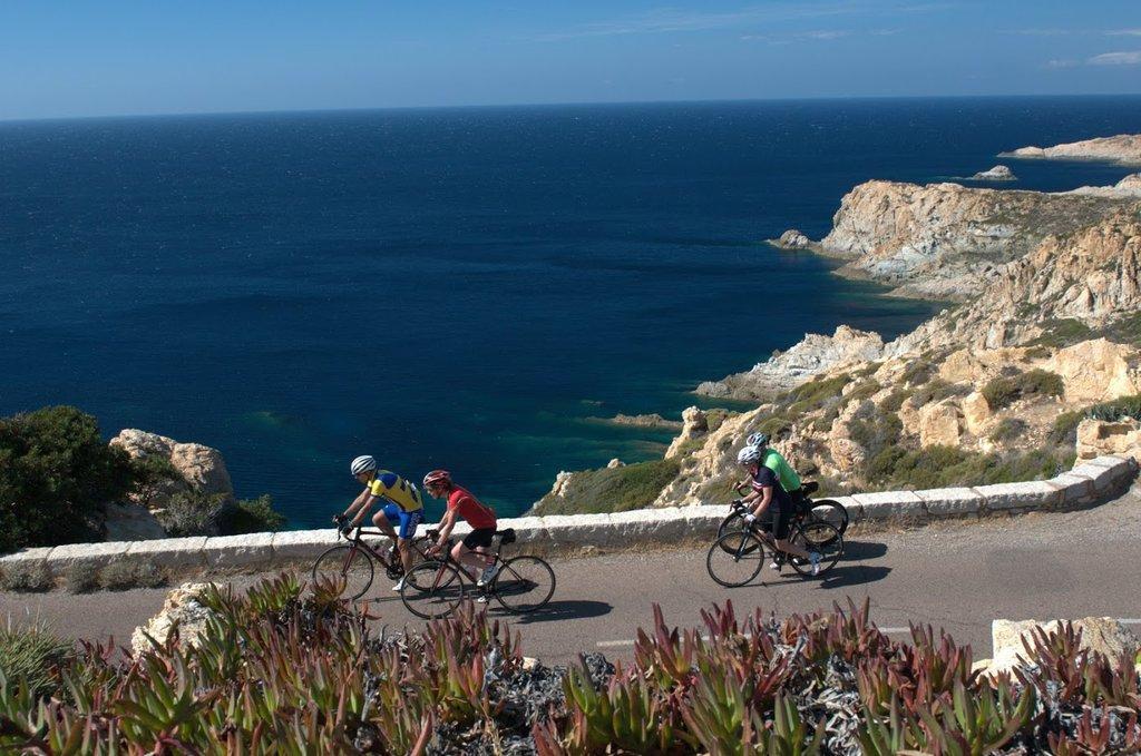 Cycling scenic Corsica's coastline