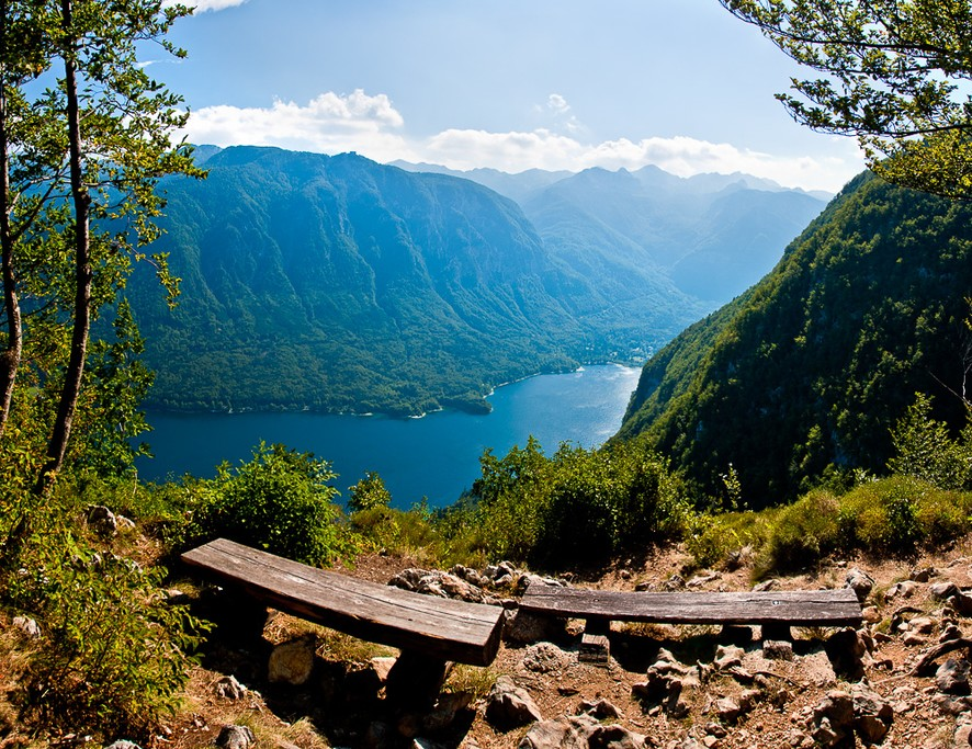 Scenic overlook above Lake Bohinj