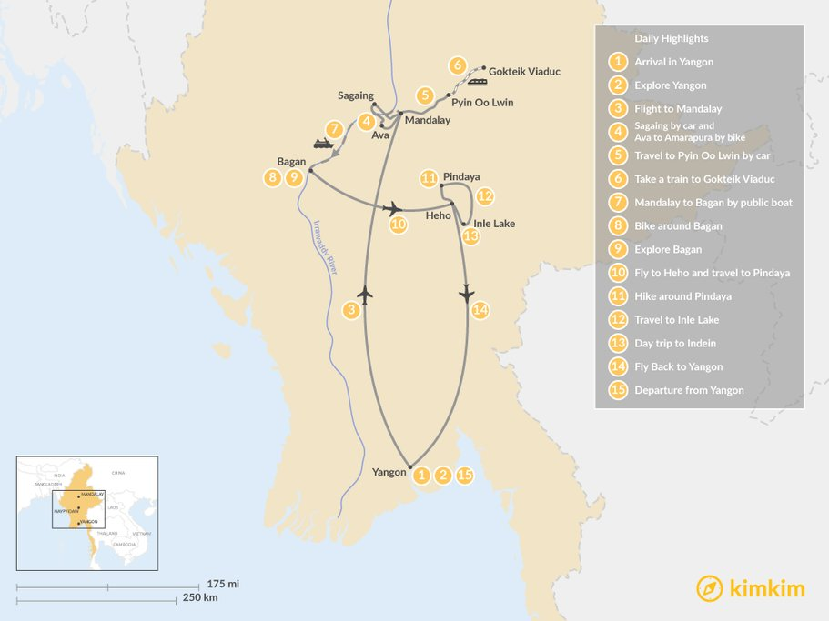 Map of 15 day Myanmar Itinerary