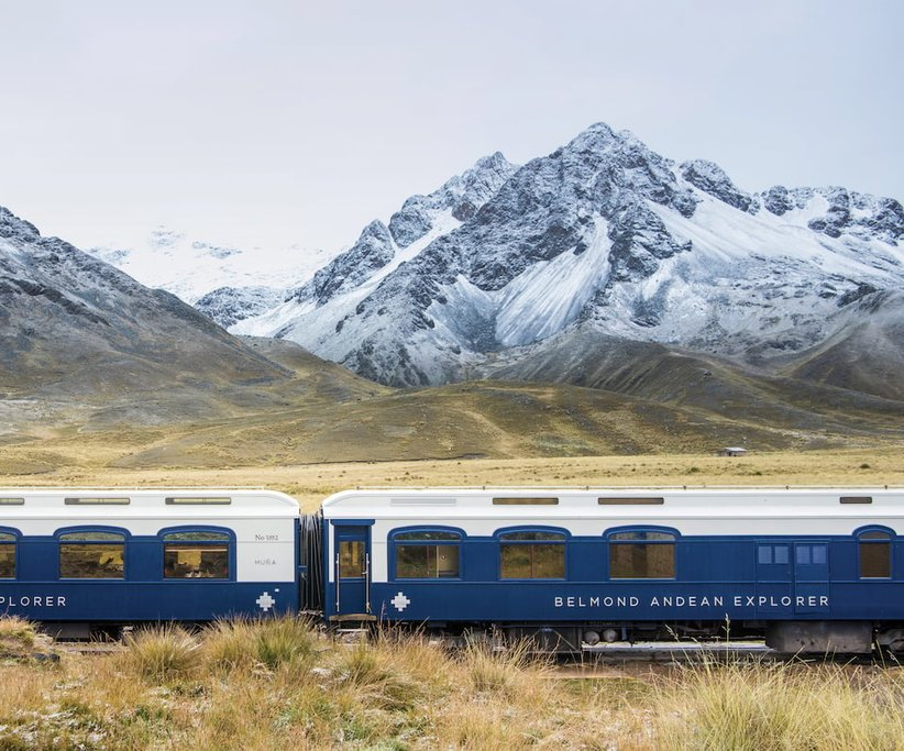 The Belmond Andean Explorer transports passengers from Cusco to Puno