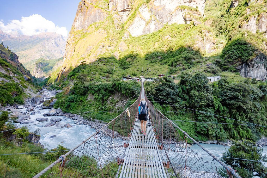 Suspension bridge in the Annapurna foothills
