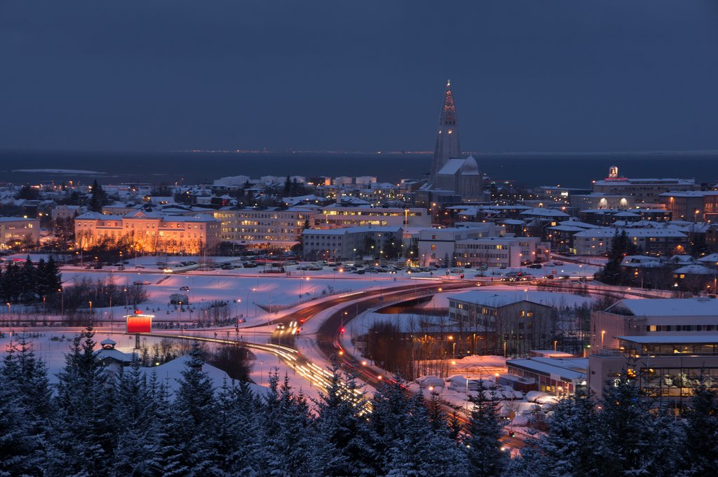 Reykjavik covered in snow around the winter holidays